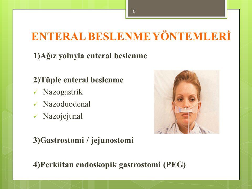 ENTERAL BESLENME YÖNTEMLERİ 1)Ağız yoluyla enteral beslenme 2)Tüple enteral beslenme Nazogastrik Nazoduodenal Nazojejunal 3)Gastrostomi / jejunostomi