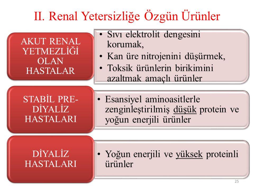 II. Renal Yetersizliğe Özgün Ürünler 25 Sıvı elektrolit dengesini korumak, Kan üre nitrojenini düşürmek, Toksik ürünlerin birikimini azaltmak amaçlı ü