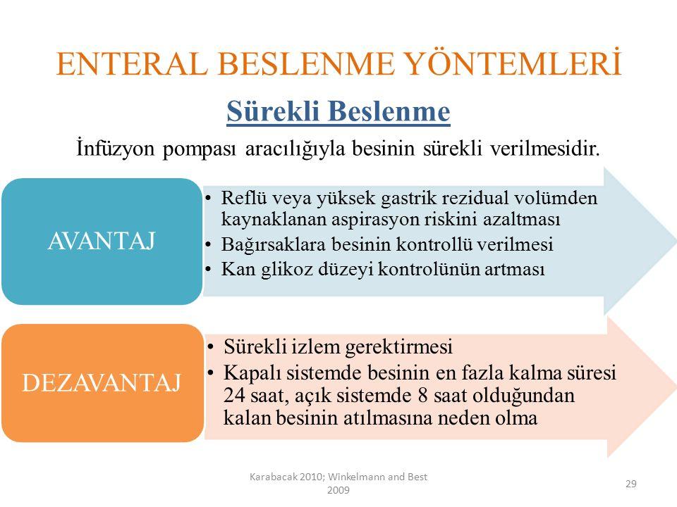 ENTERAL BESLENME YÖNTEMLERİ Sürekli Beslenme İnfüzyon pompası aracılığıyla besinin sürekli verilmesidir. Karabacak 2010; Winkelmann and Best 2009 29 R