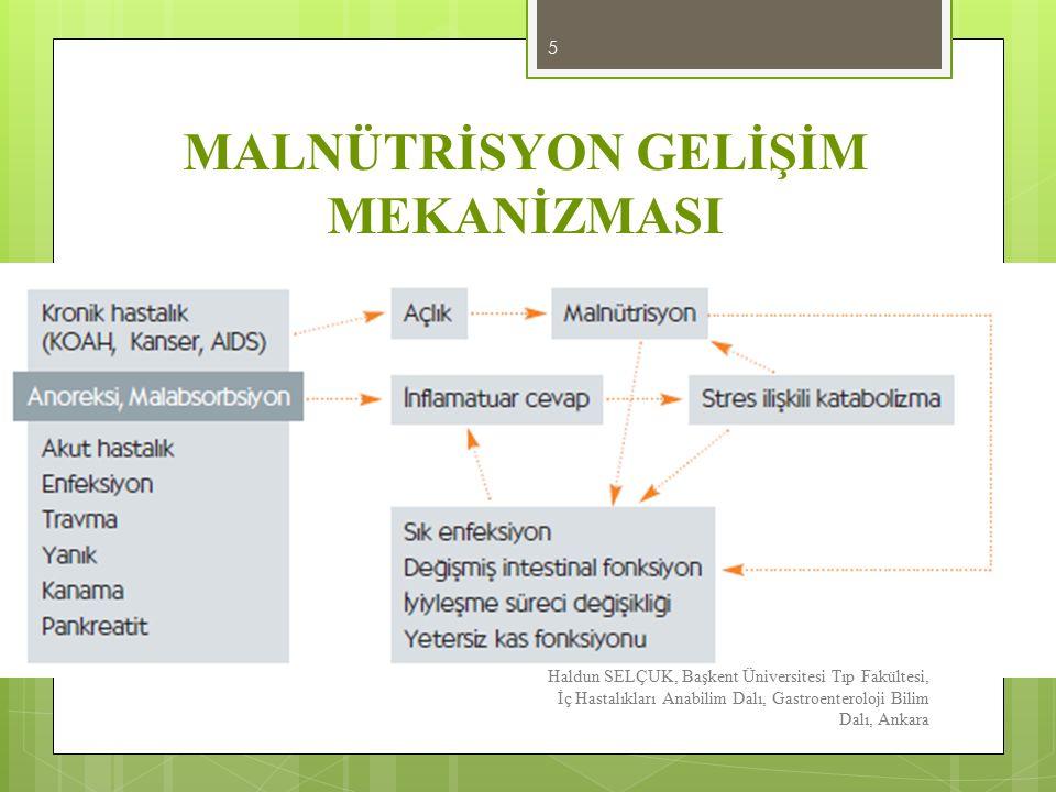 MALNÜTRİSYON SONUÇLARI Haldun SELÇUK, Başkent Üniversitesi Tıp Fakültesi, İç Hastalıkları Anabilim Dalı, Gastroenteroloji Bilim Dalı, Ankara 6