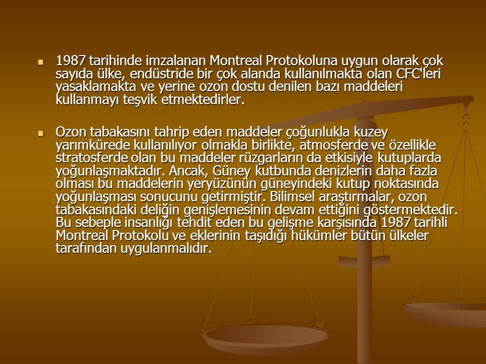 1987 tarihinde imzalanan Montreal Protokoluna uygun olarak çok sayıda ülke, endüstride bir çok alanda kullanılmakta olan CFC'leri yasaklamakta ve yeri