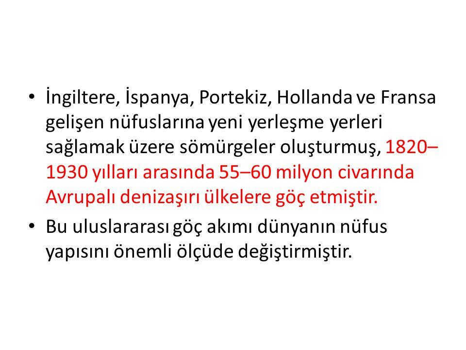 İngiltere, İspanya, Portekiz, Hollanda ve Fransa gelişen nüfuslarına yeni yerleşme yerleri sağlamak üzere sömürgeler oluşturmuş, 1820– 1930 yılları arasında 55–60 milyon civarında Avrupalı denizaşırı ülkelere göç etmiştir.