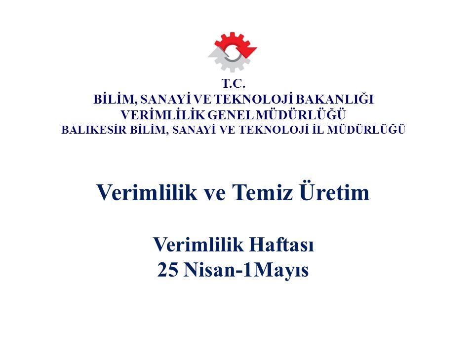 T.C. BİLİM, SANAYİ VE TEKNOLOJİ BAKANLIĞI VERİMLİLİK GENEL MÜDÜRLÜĞÜ Verimlilik ve Temiz Üretim Verimlilik Haftası 25 Nisan-1Mayıs T.C. BİLİM, SANAYİ