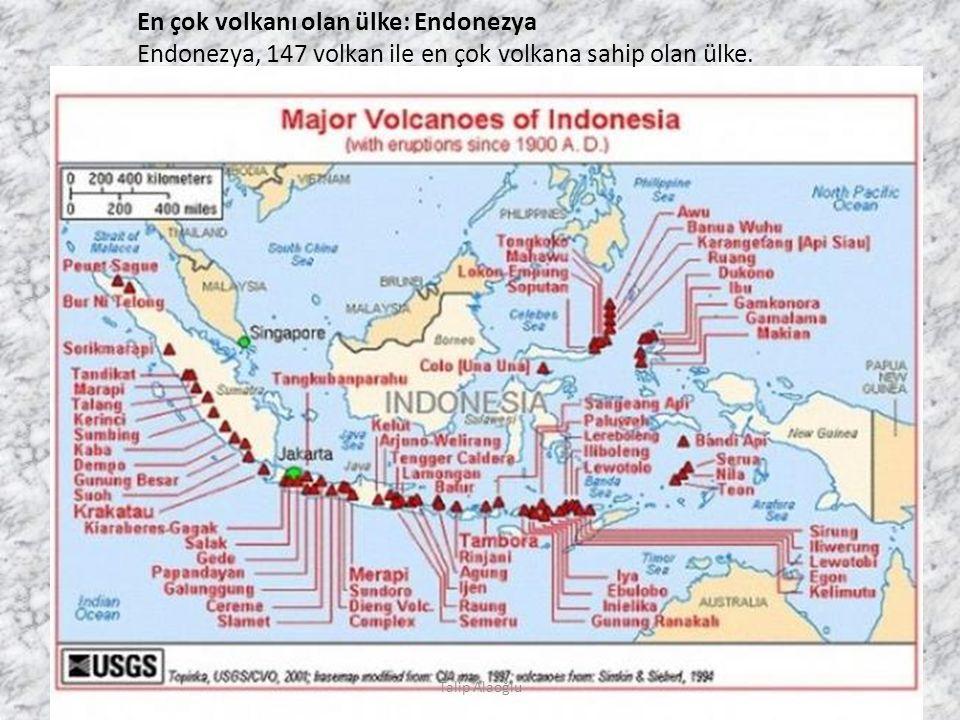 En çok volkanı olan ülke: Endonezya Endonezya, 147 volkan ile en çok volkana sahip olan ülke.