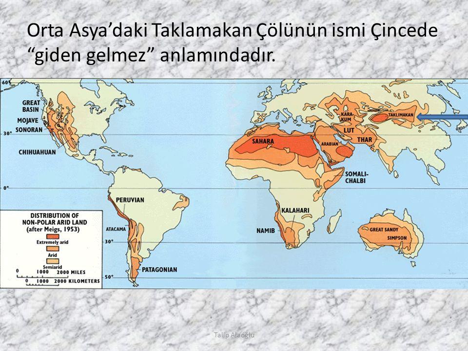 Orta Asya'daki Taklamakan Çölünün ismi Çincede giden gelmez anlamındadır. Talip Alaoğlu