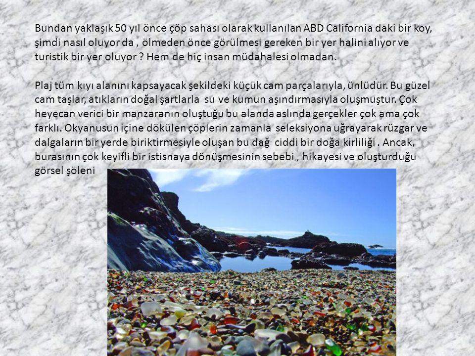 Talip Alaoğlu Bundan yaklaşık 50 yıl önce çöp sahası olarak kullanılan ABD California daki bir koy, şimdi nasıl oluyor da, ölmeden önce görülmesi gereken bir yer halini alıyor ve turistik bir yer oluyor .