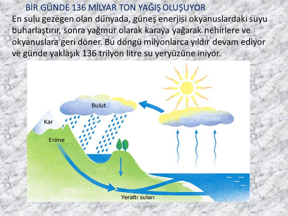 En sulu gezegen olan dünyada, güneş enerjisi okyanuslardaki suyu buharlaştırır, sonra yağmur olarak karaya yağarak nehirlere ve okyanuslara geri döner.