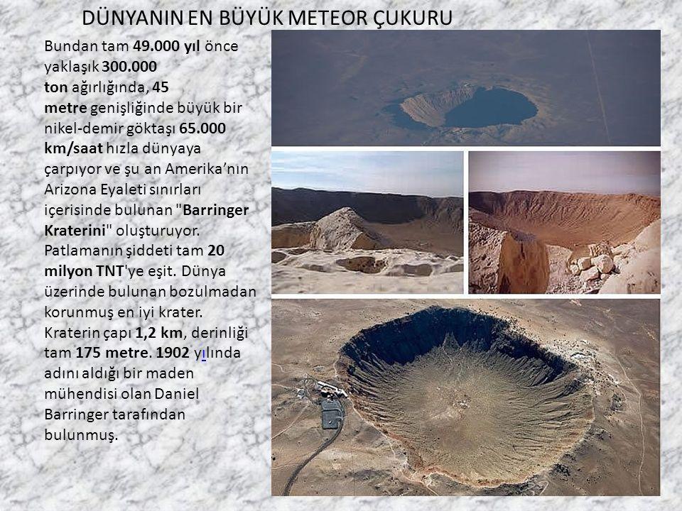 Bundan tam 49.000 yıl önce yaklaşık 300.000 ton ağırlığında, 45 metre genişliğinde büyük bir nikel-demir göktaşı 65.000 km/saat hızla dünyaya çarpıyor ve şu an Amerika'nın Arizona Eyaleti sınırları içerisinde bulunan Barringer Kraterini oluşturuyor.