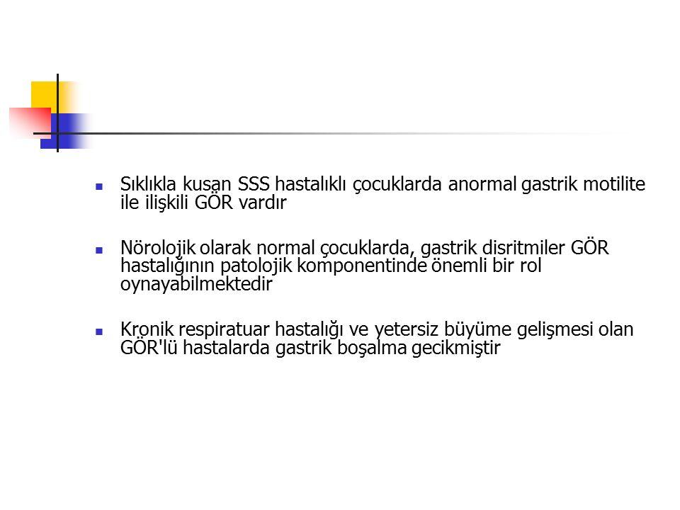 Sıklıkla kusan SSS hastalıklı çocuklarda anormal gastrik motilite ile ilişkili GÖR vardır Nörolojik olarak normal çocuklarda, gastrik disritmiler GÖR