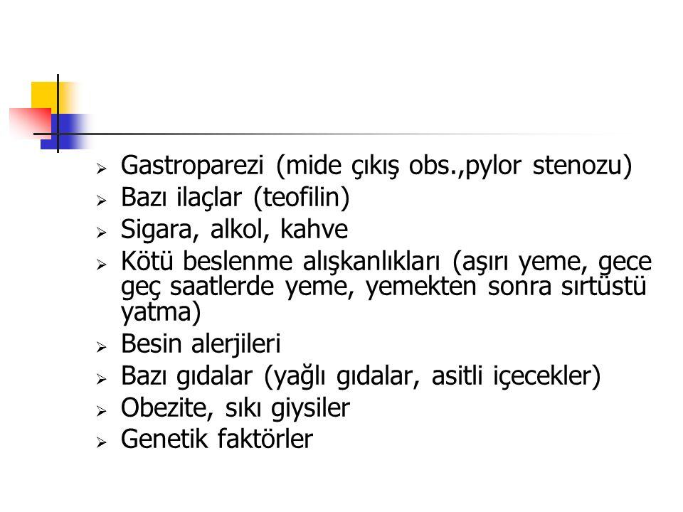  Gastroparezi (mide çıkış obs.,pylor stenozu)  Bazı ilaçlar (teofilin)  Sigara, alkol, kahve  Kötü beslenme alışkanlıkları (aşırı yeme, gece geç s