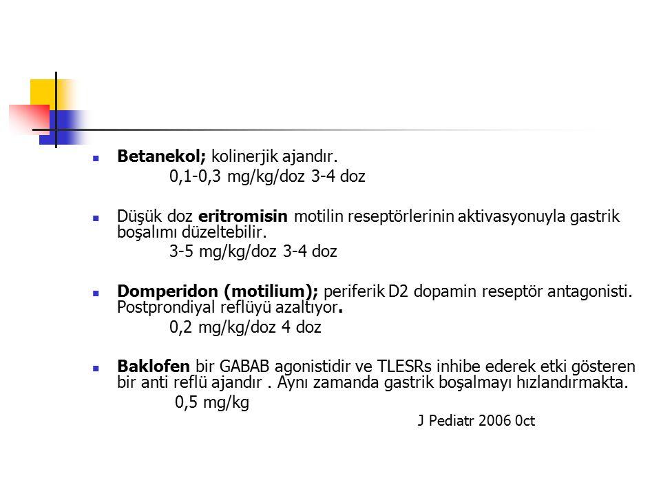 Betanekol; kolinerjik ajandır. 0,1-0,3 mg/kg/doz 3-4 doz Düşük doz eritromisin motilin reseptörlerinin aktivasyonuyla gastrik boşalımı düzeltebilir. 3