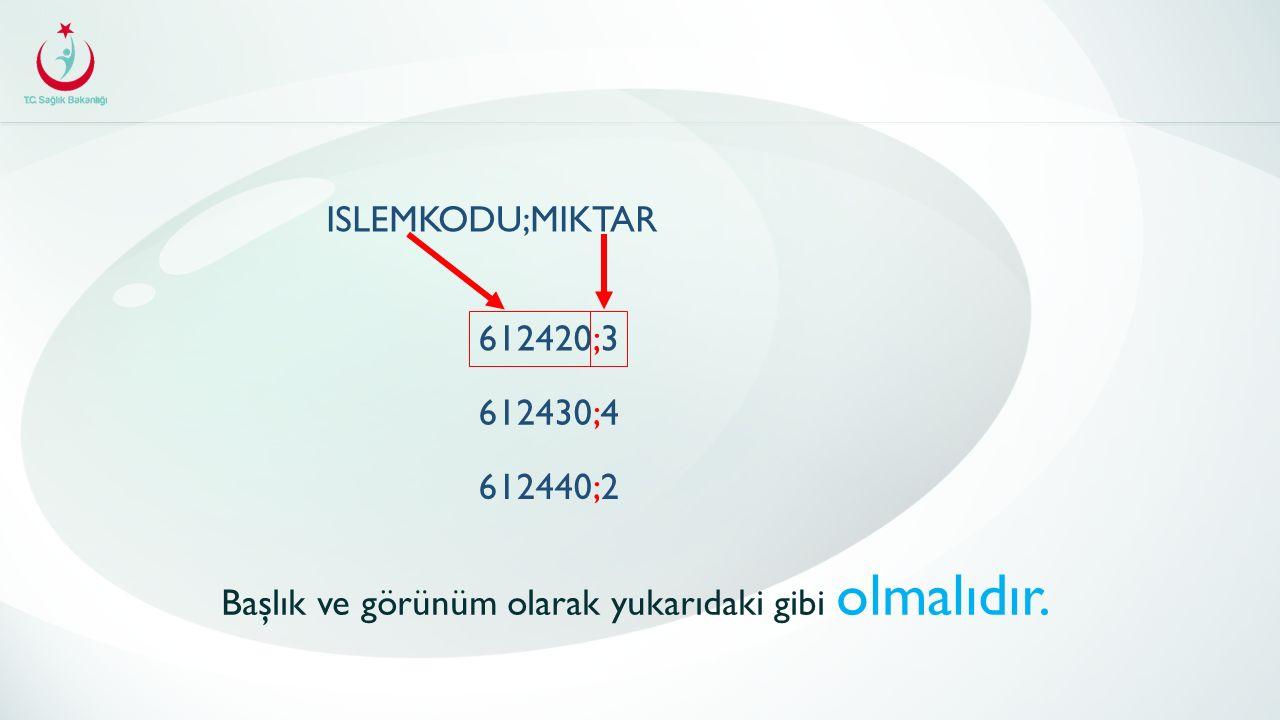 ISLEMKODU;MIKTAR 612420;3 612430;4 612440;2 Başlık ve görünüm olarak yukarıdaki gibi olmalıdır.