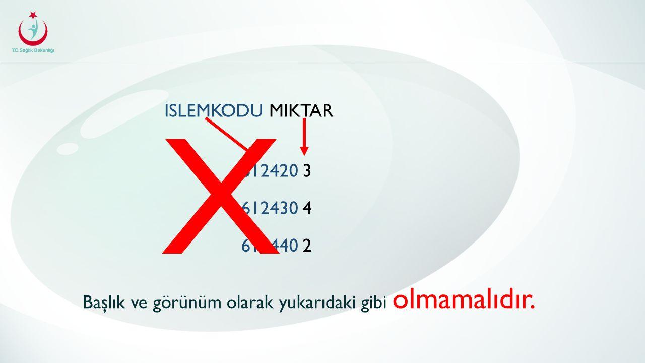 ISLEMKODU MIKTAR 612420 3 612430 4 612440 2 Başlık ve görünüm olarak yukarıdaki gibi olmamalıdır. X