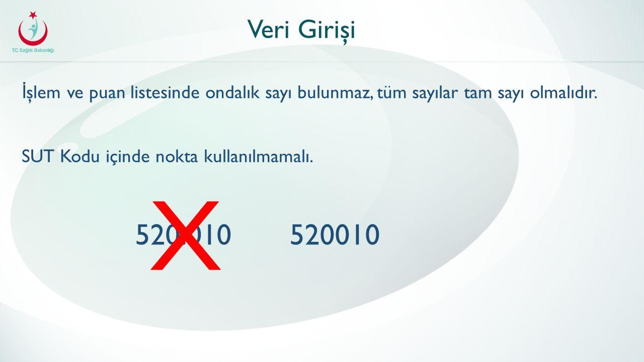 Veri Girişi İ şlem ve puan listesinde ondalık sayı bulunmaz, tüm sayılar tam sayı olmalıdır.