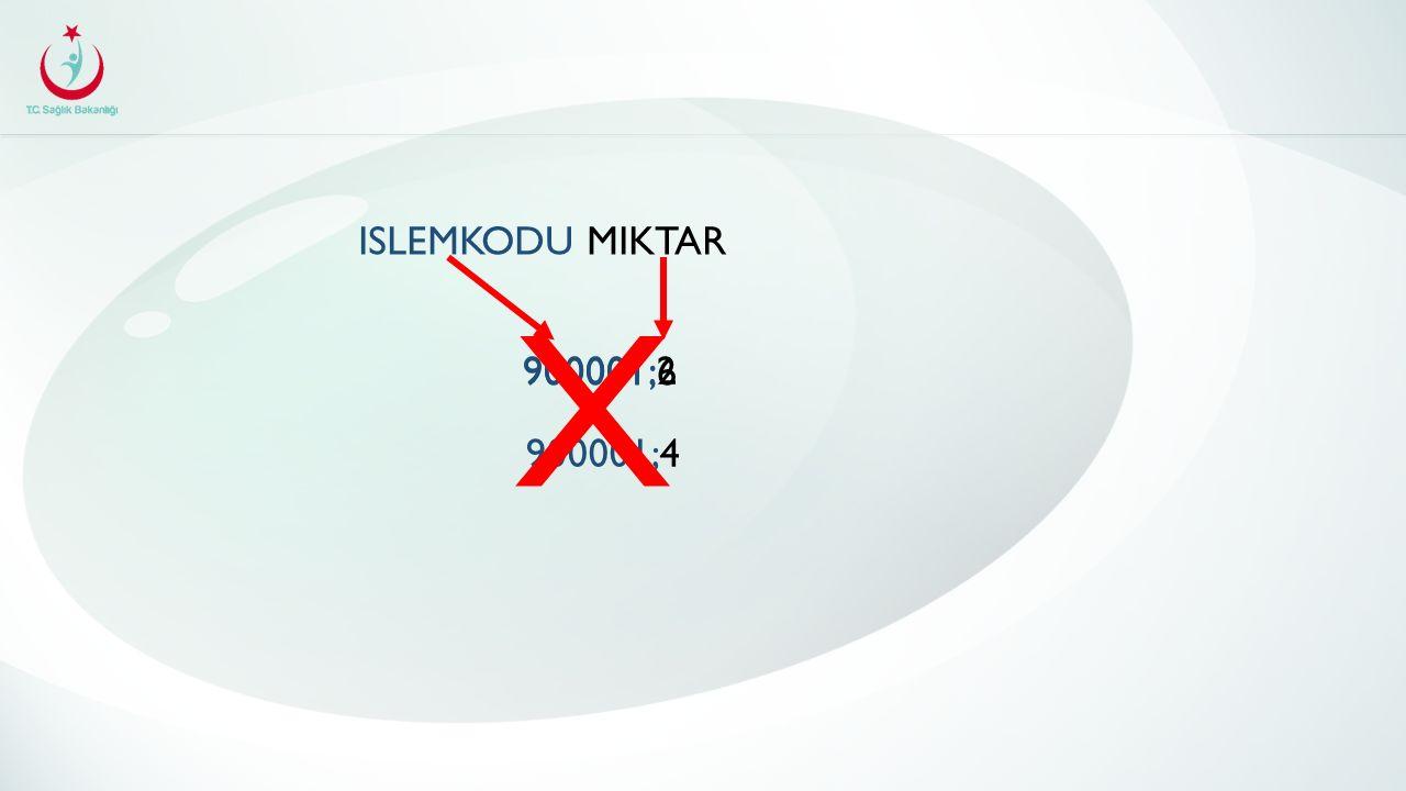 ISLEMKODU MIKTAR 900001;2 900001;4 900001;6 X