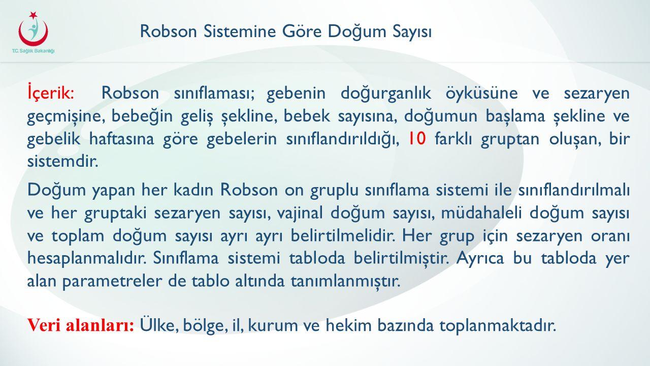 İ çerik: Robson sınıflaması; gebenin do ğ urganlık öyküsüne ve sezaryen geçmişine, bebe ğ in geliş şekline, bebek sayısına, do ğ umun başlama şekline ve gebelik haftasına göre gebelerin sınıflandırıldı ğ ı, 10 farklı gruptan oluşan, bir sistemdir.