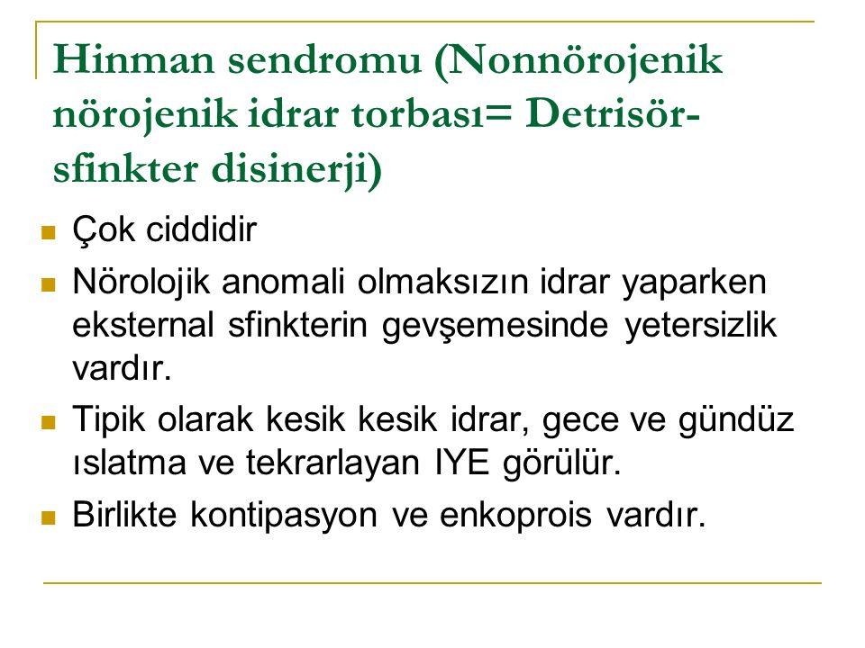 Hinman sendromu (Nonnörojenik nörojenik idrar torbası= Detrisör- sfinkter disinerji) Çok ciddidir Nörolojik anomali olmaksızın idrar yaparken eksternal sfinkterin gevşemesinde yetersizlik vardır.
