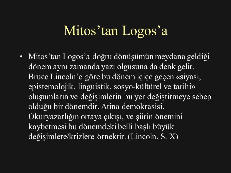 Mitos'tan Logos'a Mitos'tan Logos'a doğru dönüşümün meydana geldiği dönem aynı zamanda yazı olgusuna da denk gelir.