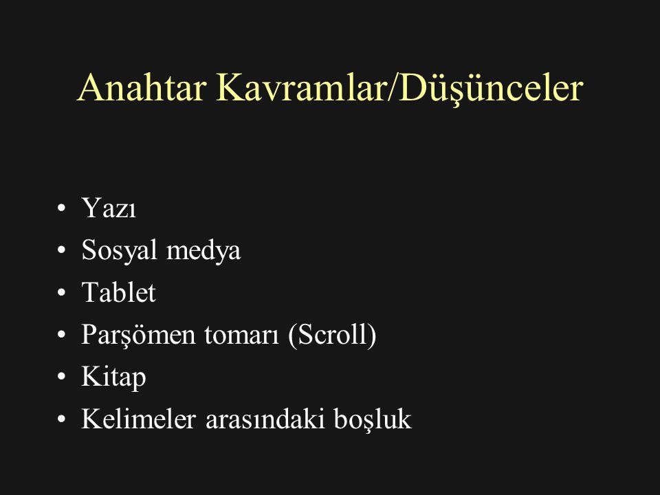 Anahtar Kavramlar/Düşünceler Yazı Sosyal medya Tablet Parşömen tomarı (Scroll) Kitap Kelimeler arasındaki boşluk