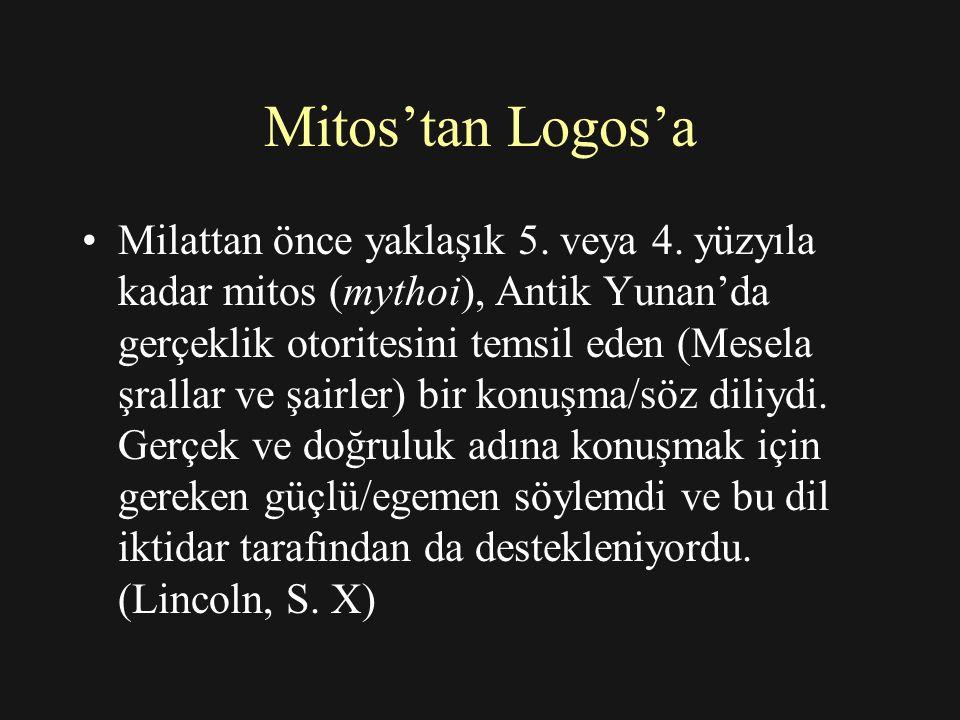 Mitos'tan Logos'a İktidar ilişkileri üreten Mitos'un (mythoi) aksine Logos (Logoi), 5.