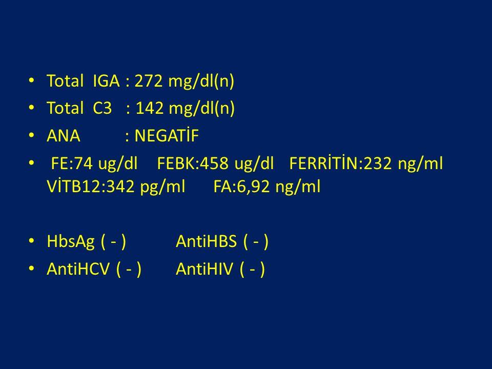 Total IGA : 272 mg/dl(n) Total C3 : 142 mg/dl(n) ANA : NEGATİF FE:74 ug/dl FEBK:458 ug/dl FERRİTİN:232 ng/ml VİTB12:342 pg/ml FA:6,92 ng/ml HbsAg ( -