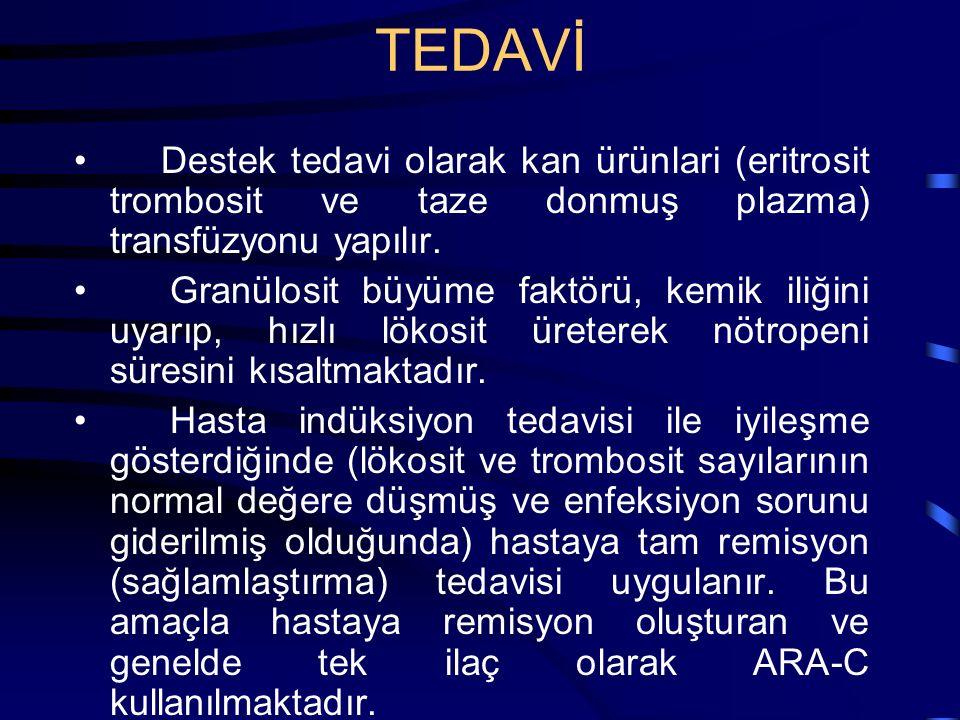 TEDAVİ Destek tedavi olarak kan ürünlari (eritrosit trombosit ve taze donmuş plazma) transfüzyonu yapılır. Granülosit büyüme faktörü, kemik iliğini uy