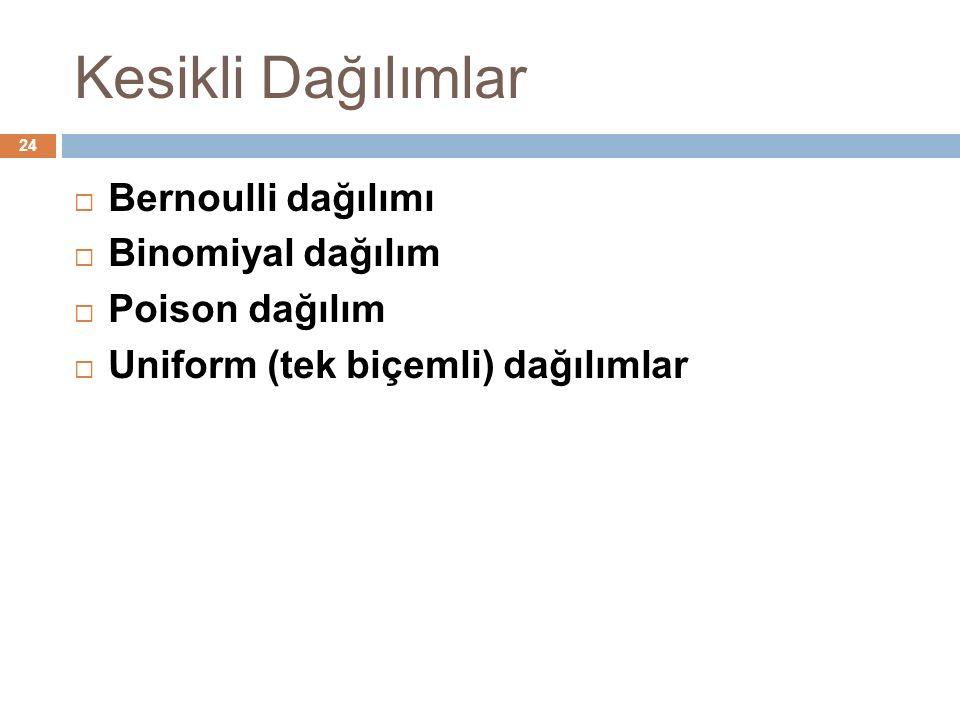 Kesikli Dağılımlar 24  Bernoulli dağılımı  Binomiyal dağılım  Poison dağılım  Uniform (tek biçemli) dağılımlar