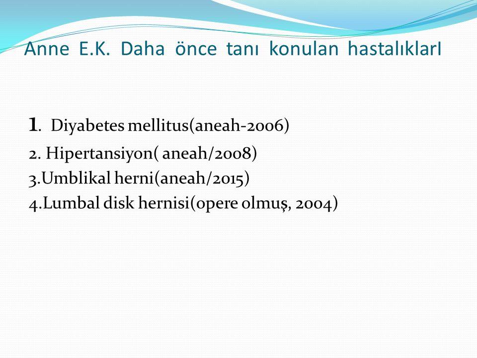 Anne E.K.Daha önce tanı konulan hastalıklarI 1. Diyabetes mellitus(aneah-2006) 2.