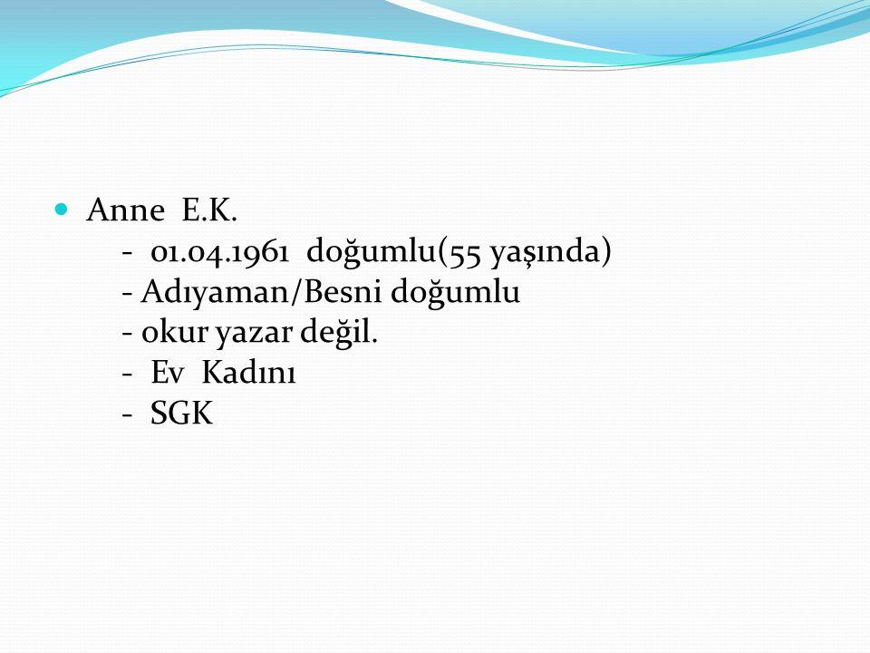 Anne E.K.- 01.04.1961 doğumlu(55 yaşında) - Adıyaman/Besni doğumlu - okur yazar değil.