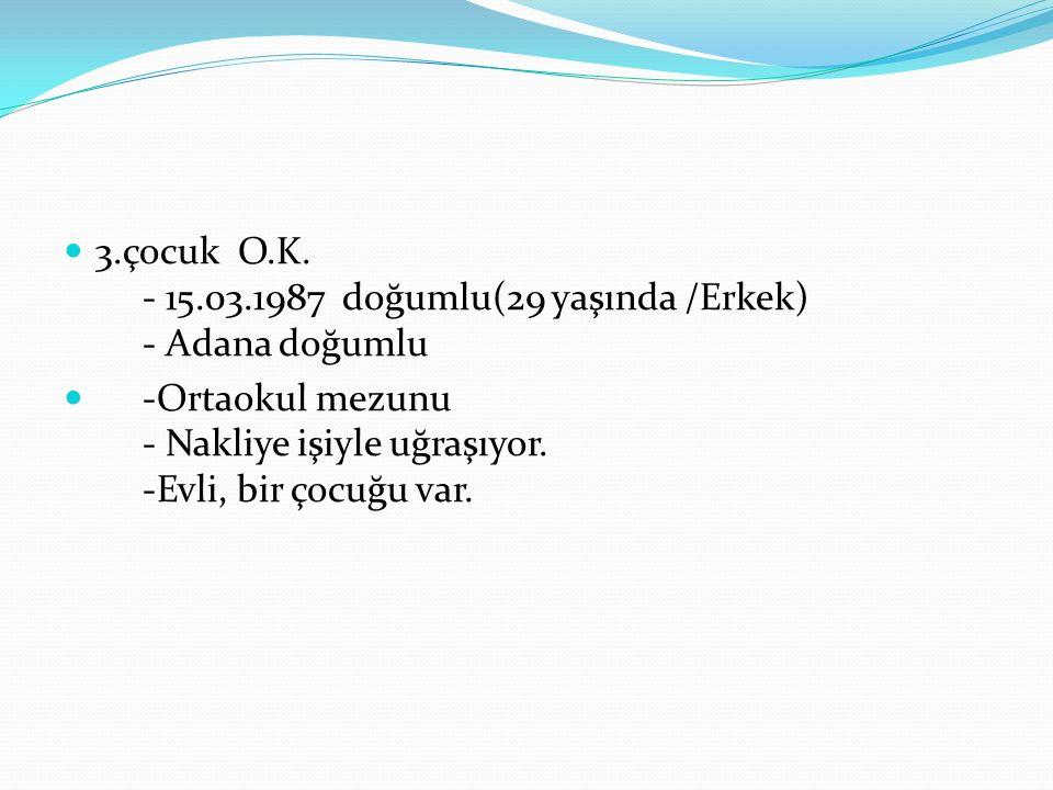 4.çocuk F.K. -12.03.1990 doğumlu (26 yaşında /kadın) - Adana doğumlu - Üniversite 3.sınıf öğrencisi