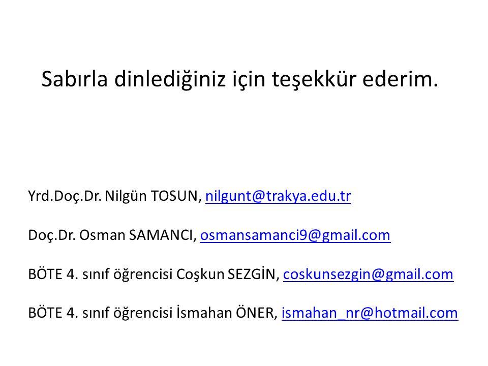 Sabırla dinlediğiniz için teşekkür ederim. Yrd.Doç.Dr. Nilgün TOSUN, nilgunt@trakya.edu.trnilgunt@trakya.edu.tr Doç.Dr. Osman SAMANCI, osmansamanci9@g