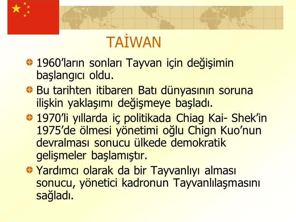TAİWAN 1960'ların sonları Tayvan için değişimin başlangıcı oldu.