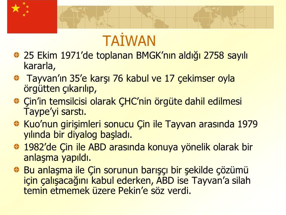 TAİWAN 25 Ekim 1971'de toplanan BMGK'nın aldığı 2758 sayılı kararla, Tayvan'ın 35'e karşı 76 kabul ve 17 çekimser oyla örgütten çıkarılıp, Çin'in temsilcisi olarak ÇHC'nin örgüte dahil edilmesi Taype'yi sarstı.