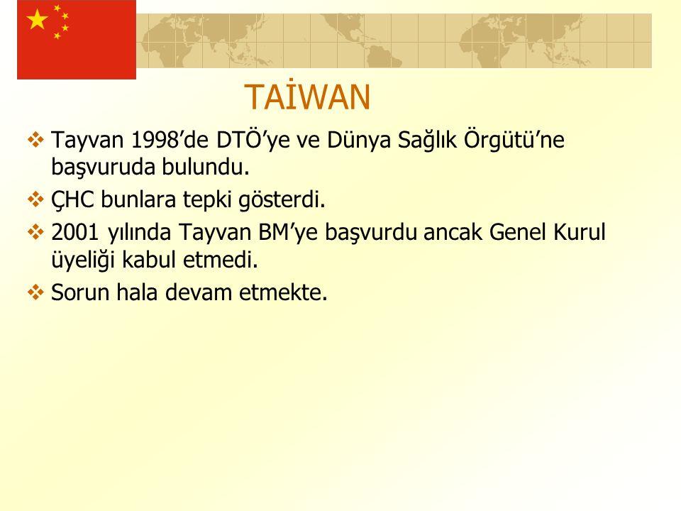 TAİWAN  Tayvan 1998'de DTÖ'ye ve Dünya Sağlık Örgütü'ne başvuruda bulundu.