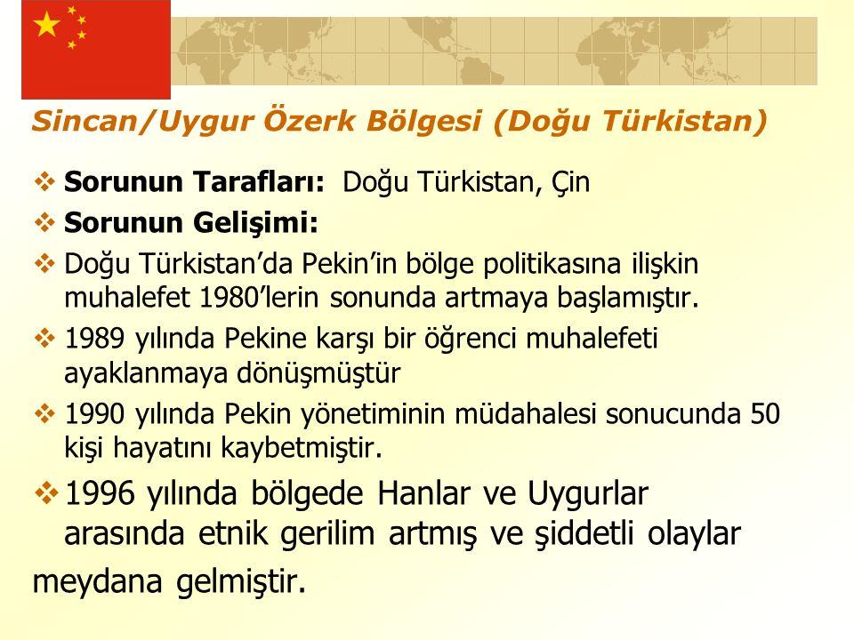 Sincan/Uygur Özerk Bölgesi (Doğu Türkistan)  Sorunun Tarafları: Doğu Türkistan, Çin  Sorunun Gelişimi:  Doğu Türkistan'da Pekin'in bölge politikasına ilişkin muhalefet 1980'lerin sonunda artmaya başlamıştır.