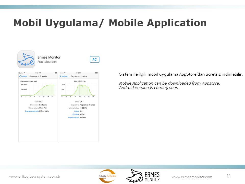 Mobil Uygulama/ Mobile Application 24 www.ermesmonitor.com www.erikoglusunsystem.com.tr Sistem ile ilgili mobil uygulama AppStore'dan ücretsiz indiril
