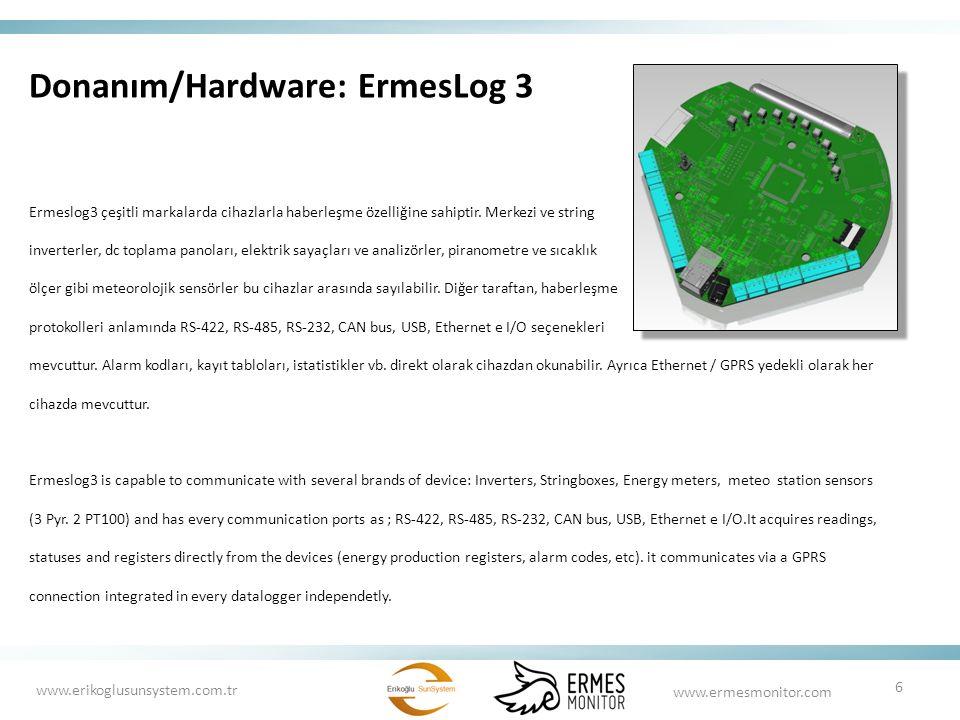 Donanım/Hardware: ErmesLog 3 Ermeslog3 çeşitli markalarda cihazlarla haberleşme özelliğine sahiptir. Merkezi ve string inverterler, dc toplama panolar