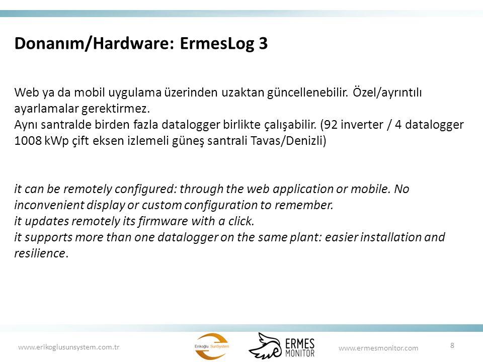 Donanım/Hardware: ErmesLog 3 Web ya da mobil uygulama üzerinden uzaktan güncellenebilir. Özel/ayrıntılı ayarlamalar gerektirmez. Aynı santralde birden