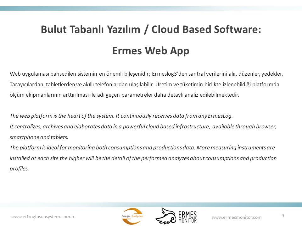 Bulut Tabanlı Yazılım / Cloud Based Software: Ermes Web App Web uygulaması bahsedilen sistemin en önemli bileşenidir; Ermeslog3'den santral verilerini