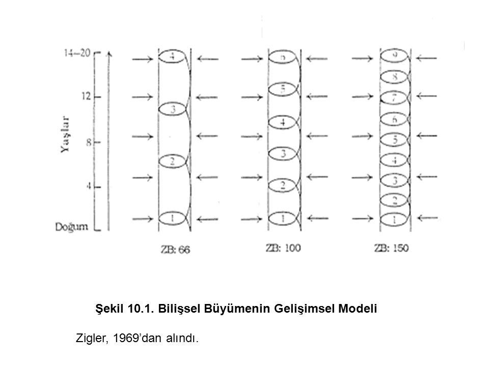 Şekil 10.1. Bilişsel Büyümenin Gelişimsel Modeli Zigler, 1969'dan alındı.