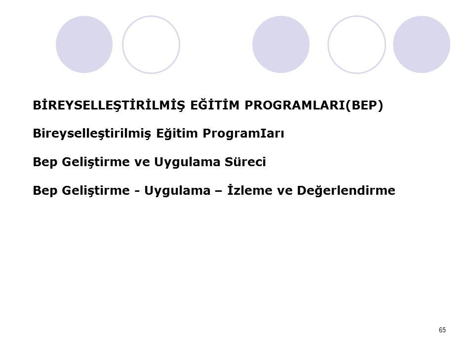 65 BİREYSELLEŞTİRİLMİŞ EĞİTİM PROGRAMLARI(BEP) Bireyselleştirilmiş Eğitim ProgramIarı Bep Geliştirme ve Uygulama Süreci Bep Geliştirme - Uygulama – İz