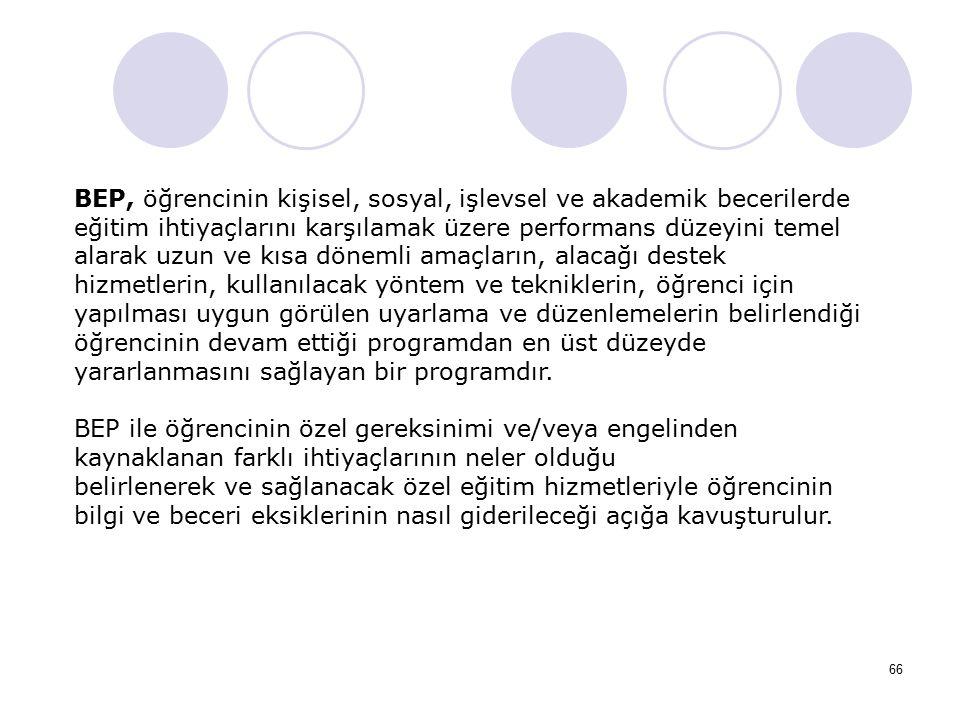 66 BEP, öğrencinin kişisel, sosyal, işlevsel ve akademik becerilerde eğitim ihtiyaçlarını karşılamak üzere performans düzeyini temel alarak uzun ve kı