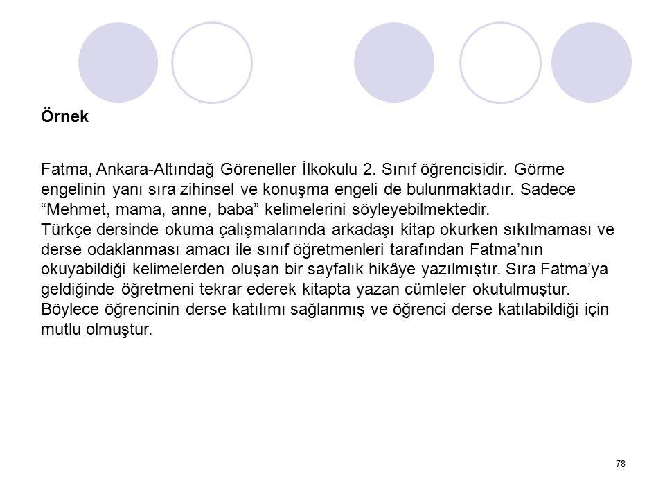 78 Örnek Fatma, Ankara-Altındağ Göreneller İlkokulu 2. Sınıf öğrencisidir. Görme engelinin yanı sıra zihinsel ve konuşma engeli de bulunmaktadır. Sade