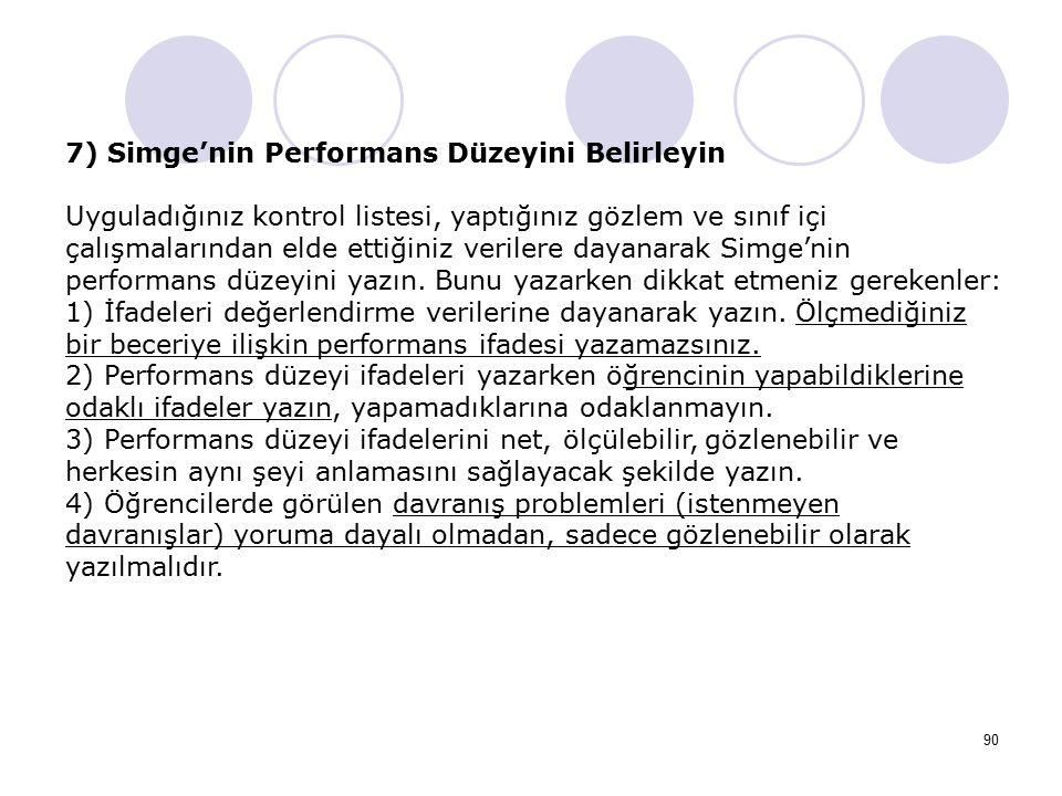 90 7) Simge'nin Performans Düzeyini Belirleyin Uyguladığınız kontrol listesi, yaptığınız gözlem ve sınıf içi çalışmalarından elde ettiğiniz verilere d