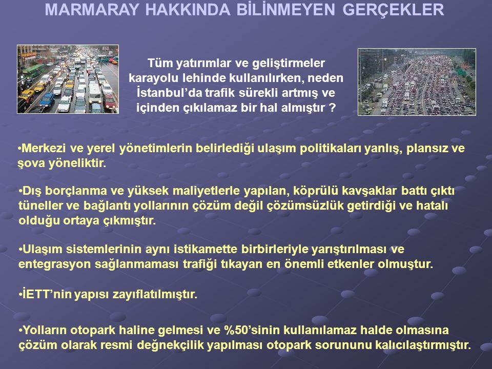 MARMARAY HAKKINDA BİLİNMEYEN GERÇEKLER Tüm yatırımlar ve geliştirmeler karayolu lehinde kullanılırken, neden İstanbul'da trafik sürekli artmış ve içinden çıkılamaz bir hal almıştır .