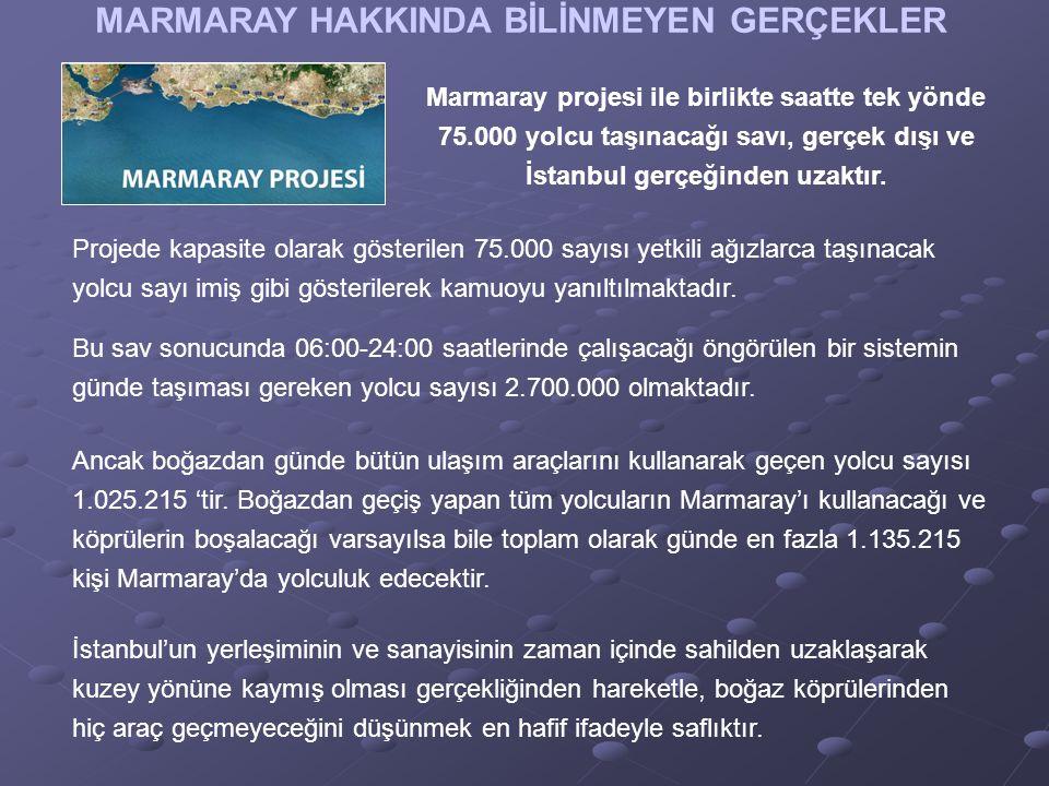 MARMARAY HAKKINDA BİLİNMEYEN GERÇEKLER Marmaray projesi ile birlikte saatte tek yönde 75.000 yolcu taşınacağı savı, gerçek dışı ve İstanbul gerçeğinden uzaktır.