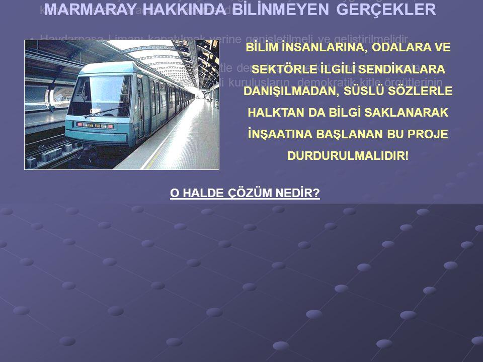 İstanbul 1/100.000 planı tüm sonuçları ve hazırlıklarıyla birlikte iptal edilmeli ve ilgili odalar, bilim insanları ile kent örgütlerinin oluru alındıktan ve İstanbul ile ülke geneliyle ilgili Ulaştırma Ana Planları hazırlandıktan sonra şekillendirilip yürürlüğe konulmalıdır.