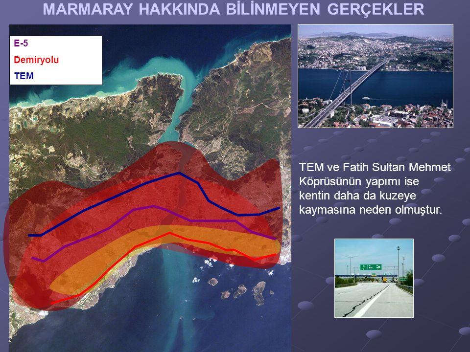 MARMARAY HAKKINDA BİLİNMEYEN GERÇEKLER TEM ve Fatih Sultan Mehmet Köprüsünün yapımı ise kentin daha da kuzeye kaymasına neden olmuştur.