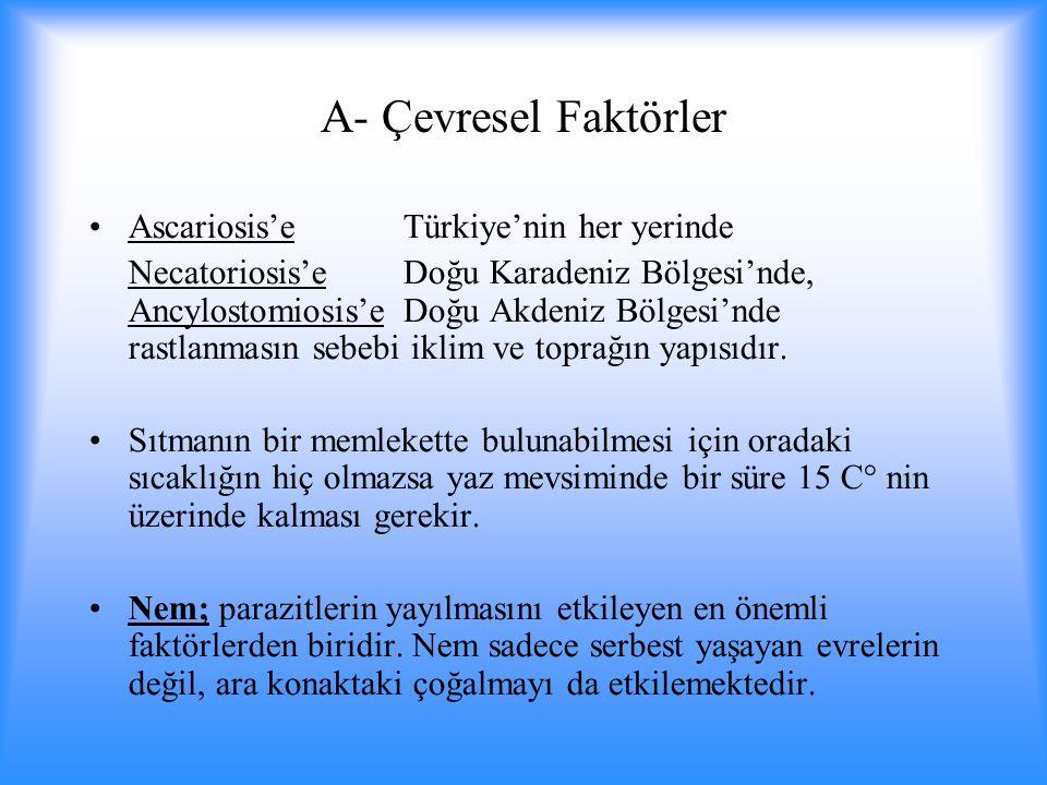 A- Çevresel Faktörler Ascariosis'e Türkiye'nin her yerinde Necatoriosis'e Doğu Karadeniz Bölgesi'nde, Ancylostomiosis'e Doğu Akdeniz Bölgesi'nde rastlanmasın sebebi iklim ve toprağın yapısıdır.