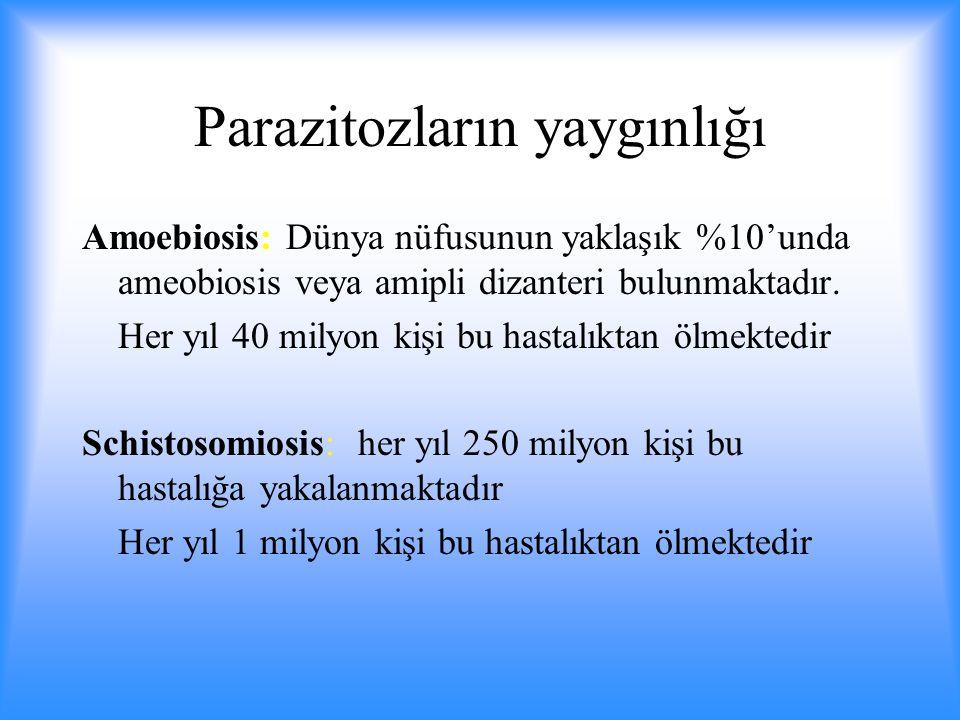 Parazitozların yaygınlığı Amoebiosis: Dünya nüfusunun yaklaşık %10'unda ameobiosis veya amipli dizanteri bulunmaktadır.